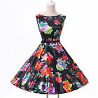 New Arrival Retro Vintage Sleeveless Ball Evening Prom Party Dress Dance Floral