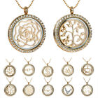 Sparkle Floating Charm Glass Living Memory Locket Pendant Necklace + Charm+chain