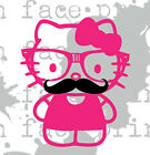 Hello Kitty Nerd Glasses Mustache Pink Vinyl Decal Sticker CUSTOM labtop ill