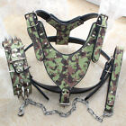 Camo Leather Studded Dog Harness Spiked Collar Chain Lead set Heavy Duty Pitbull
