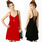 Black/Red Fashion Sexy Womens Summer Chiffon Sundress Cocktail Party Mini Dress