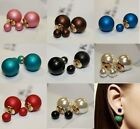Hot New Design Fashion 1 Pair Man Made Double Pearl Earrings Ear Studs 5 Colors