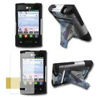 Hybrid Armor Silicone Cover Case With Stand LG Optimus Logic L35g Dynamic DN1