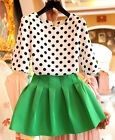 FREE SHIP 2pcs Set Lady Polka Dots Tops + Skirt Offic Casual Prom Short Dress