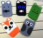 NEW Animal Face Knitted Phone Case Choice of 5 Owl Frog Cat Fox & Mouse FREE P&P