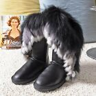 Genuine leather with real fox and rabbit fur women waterproof boots Sexy winter