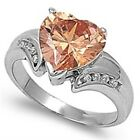 925 Sterling Silver Champagne Clear CZ Heart Love Valentine's Day Ring Size 3-11