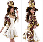 New Ladies Deluxe Mad Hatter Tea Party Alice In Wonderland Costume Fancy Dress