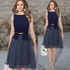 Vintage 50S 60S Cocktail Evening Formal Party Women Chiffon Midi Short Dress HOT