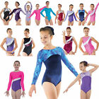 Gymnastics Leotard Girls Metallic Lycra Velvet Unitard Shine Gym Leotards **UK**...