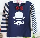 Kids Toddlers Boys Hat Image Stripes Sleeve 100% Cotton Tops Shirts 2-7 T T0569