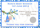 10 PERSONALISED BABY SHOWER SCRATCH CARDS - BOY