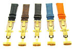 18-19-20-22-24MM LEATHER BAND WATCH STRAP DEPLOYMENT CLASP FOR FERRARI 2B GOLD
