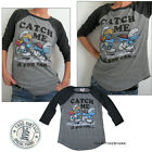 Junk Food Smurfs t-shirt CATCH ME If you can, RAGLAN Sleeve Tri-Blend NEW SALE