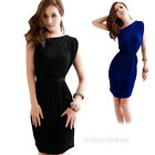 Fashion Trend Shoulder Women Cocktail Party Evening Pleated Dress Sleeveless new