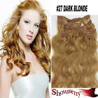 """Dark Blonde Curly/Wavy Remy clip in human hair extension 18""""/20"""" 70G~For Party!"""