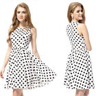 Ladies Stylish Black White Polka Dotted Short Cocktail Casual Daily Dress 05333