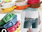 Candy Color PU Leather Belt Rectangle Cross Buckle Thin Skinny Waistband