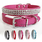 PINK BLUE RED Faux Leather Bling Rhinestone/Diamante Collar Pet Dog Cat Collar