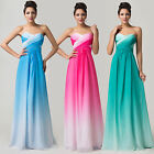 Strapless Chiffon Gradient Wedding Bridesmaid Gown Evening Prom Party Dress Long
