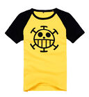 One Piece Cosplay Trafalgar Law Yellow short sleeve T-shirt 100% cotton EUR size
