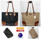Women Large Tote Shopping Working Bags w Inner Bag Black Apricot