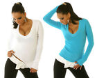 Ladies Jumpers –V neck Long Sleeve Knitted Sweater Winter Top Size 8 10 12 # 016
