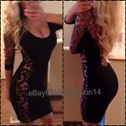 Celebrity Towie Lace Bandage Bodycon Cut Out Open Back Panelled dress