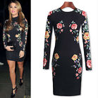 NEW Celeb Women Slim Fit Long Sleeve Cocktail Evening OL Party Floral Mini Dress