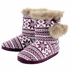 Womens Warm Purple Knitted Fairisle Bootie Slippers With Faux Fur Trim & Pompoms