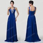 Long Chiffon Wedding Evening Formal Party Ball Gown Prom Bridesmaid Dress Blue