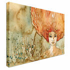 Beautiful Young Woman - Orange Afro Canvas Art Cheap Wall Print Any Size