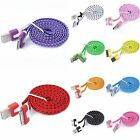 For Cell Phone Flat Noodle USB Sync Data Charging Charger Cable Cord Fashion