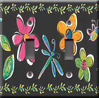 Light Switch Plate Cover - Flowers dragonfly - Floral color pink yellow kids
