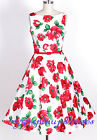 50s Vintage Retro Rockabilly Pin Up Red Floral Audrey Hepburn Swing Dress