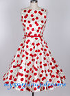 50s Vintage Rockabilly Pin Up Cherry Floral Audrey Hepburn Swing Dress