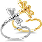 925 Sterling Silver Fire Dragonfly Mosquito Adjustable Fine Band Ring Size 3-11
