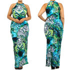 PLUS New BLUE & GREEN Sleeveless High Neck MAXI DRESS long skirt party  1X 2X 3X