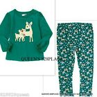 NWT CRAZY 8 LOT SET GIRLS 3 3T  & 4 4T GREEN DEER T-SHIRT FLORAL LEGGINGS OUTFIT
