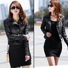 Vintage Women's Slim PU Soft Leather Zipper Jacket Biker Motorcycle Coat Black