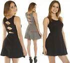 SML MIDRIFF Solid Sleeveless Round Neck Cutout Open BOW back Jersey Skater Dress