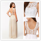 Elegant Chiffon Woman Party Dress Sleeveless Lace Floral Long Dress for Wedding
