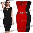 Women Sleeveless Cocktail Party Bodycon Pencil Knee Black Red Dresses Size102468