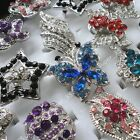 5pcs-20pcs wholesale Jewelry rhinestone silver Rose fashion Rings free shipping
