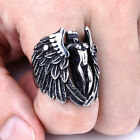 Cool Mens Silver Naked Angel Wing Feather Biker Huge 316L Stainless Steel Rings