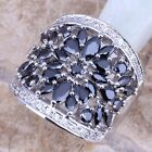 Gallant Black Sapphire Topaz Silver Ring For Women Size 5 6 7 8 9 10 S0179