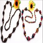 "NEW Handmade Coconut Shell Round Beads Oval Shape Long Necklace 36""L 3 Options"