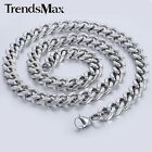 8mm Mens Chain Boys Smooth Silver Tone Curb Link Stainless Steel Necklace18-36''