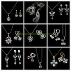 Fashion Jewelry SET Zircon Crystal Rhinestone Necklace Pendant + Earrings GIFT