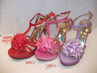 HIGH HEEL STRAPPY SANDALS LOVELY SPARKLY GLITTER WITH FLOWER NEW IN THE BOX